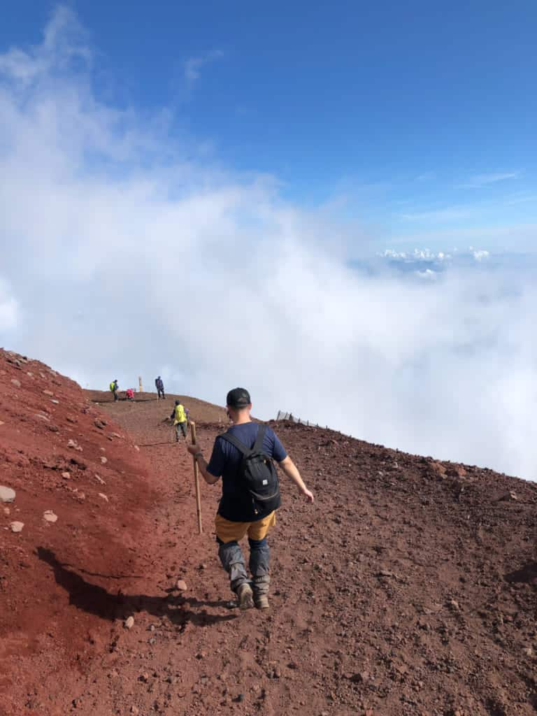walking through clouds on  Mt Fuji