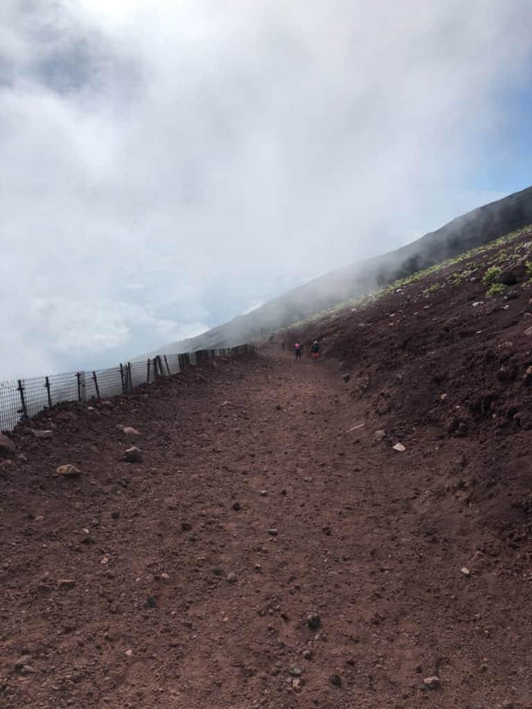 Mist on the trail of Mt Fuji