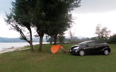 Tent in Japan near the beach
