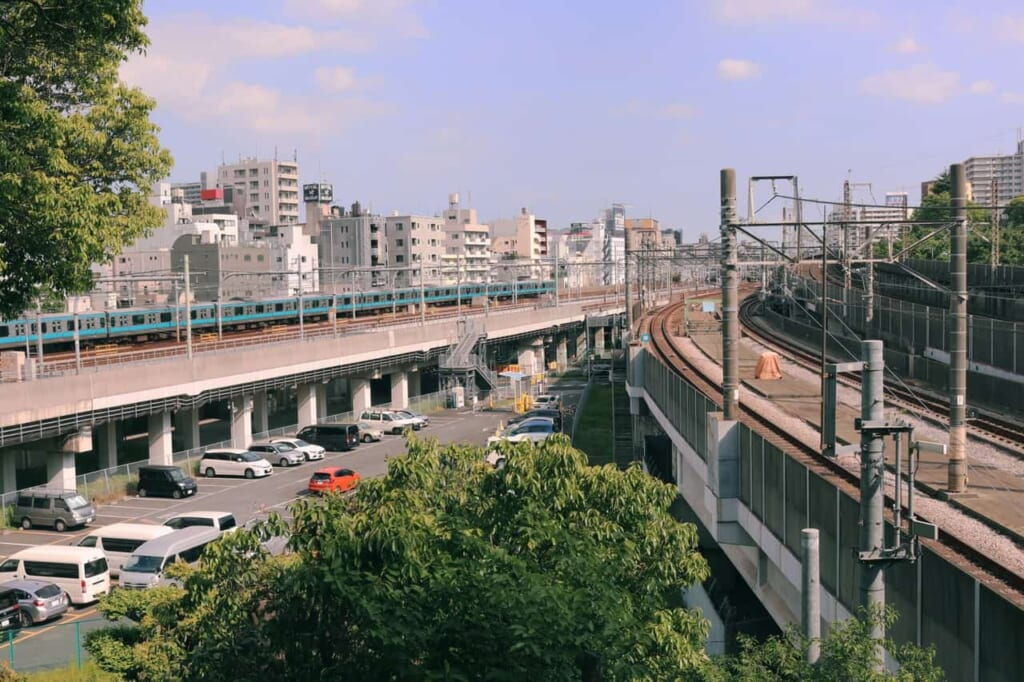 Views from the top of the Hachiman shrine in Akabane