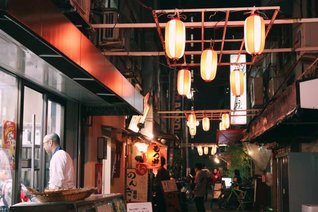 Details of the street ichibangai at night