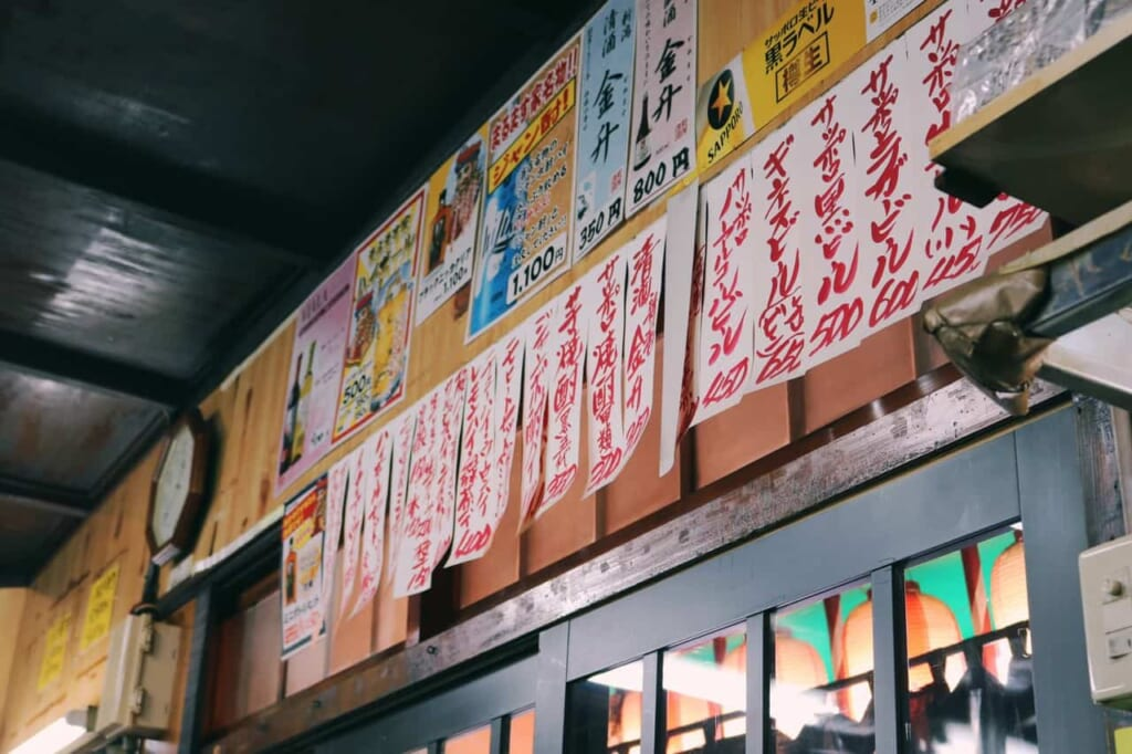 All the menu hanged from the walls inside the izakaya