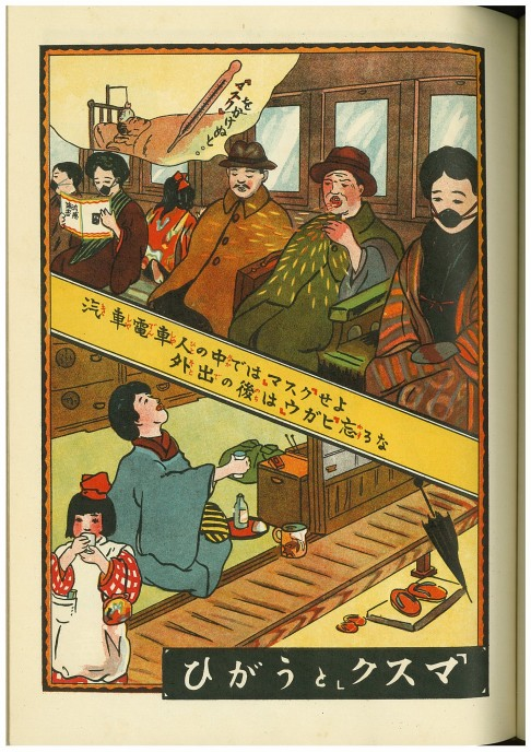 Vintage Japanese illustration about how to avoid virus spreading