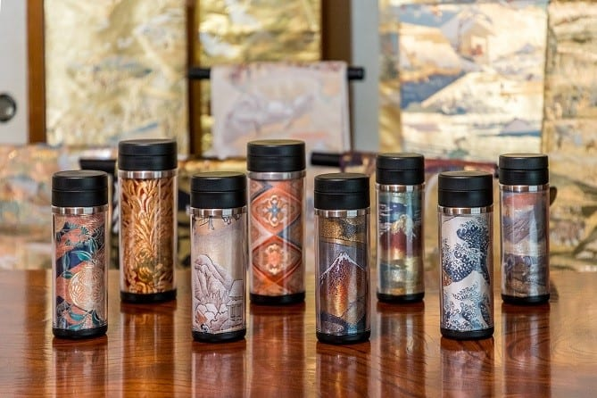 Vintage obi depicting scenes of Hiroshige Utagawa's 53 Stations of the Tokaido reconstructed into tumblers