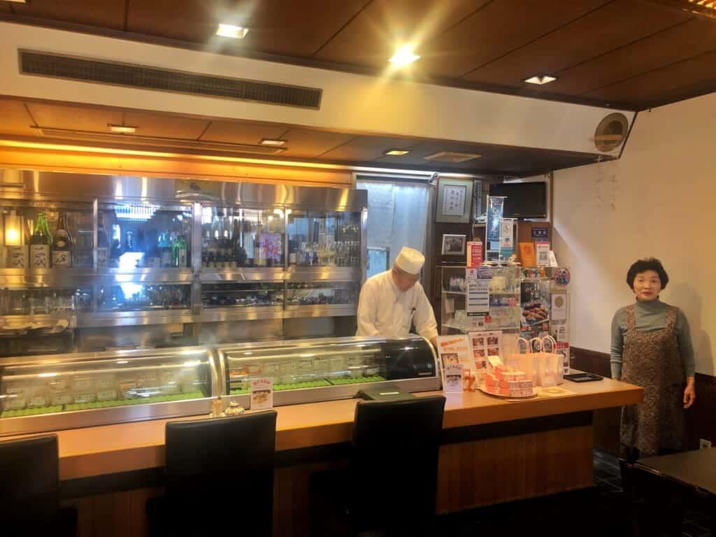 Yamazaki-san and husband in their restaurant