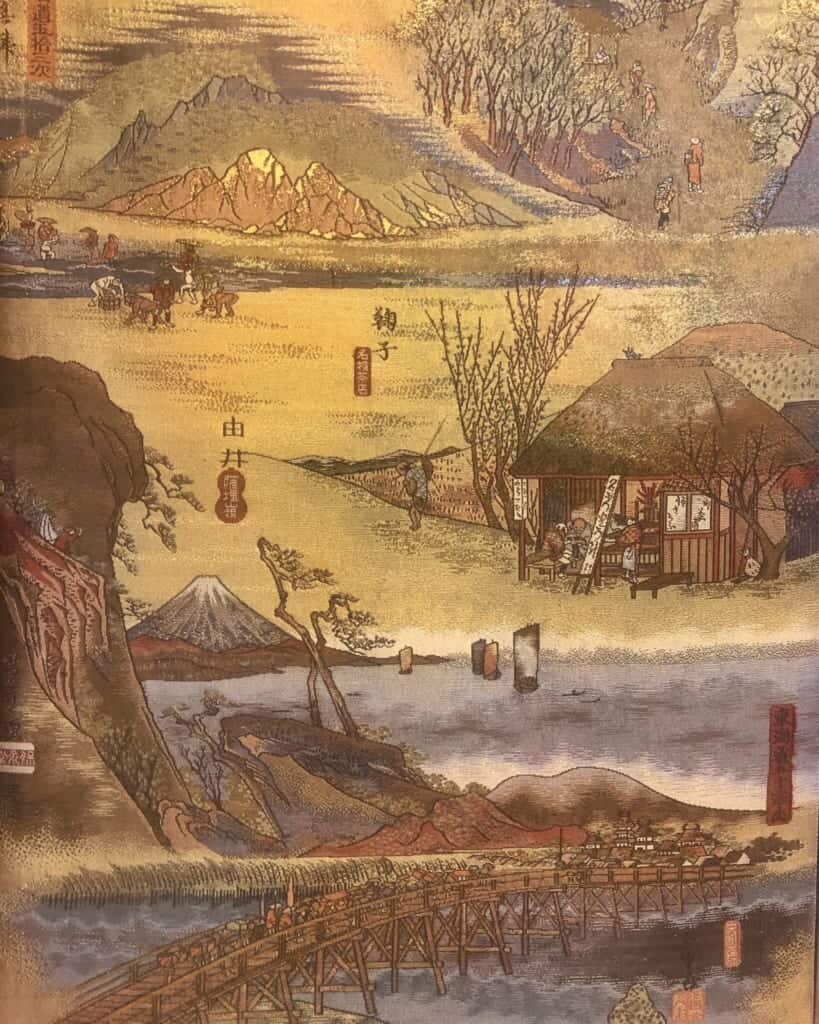 Vintage obi depicting scenes of Hiroshige Utagawa's 53 Stations of the Tokaido