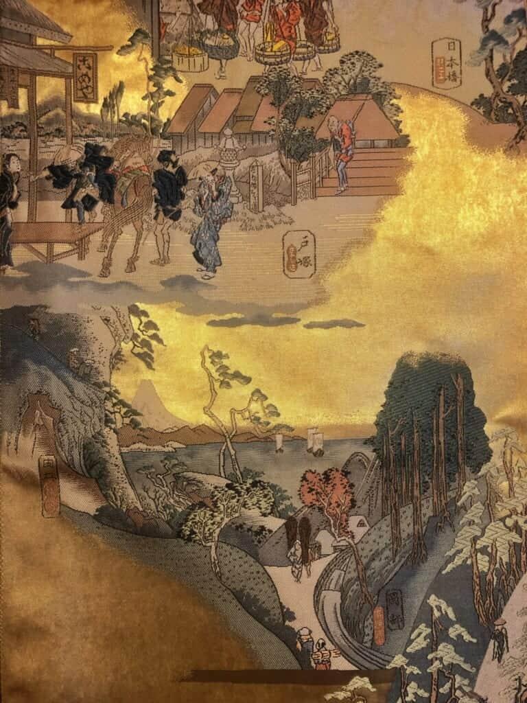 Vintage obi depicting scenes of Hiroshige Utagawa's 53 Stations of the Tokaido
