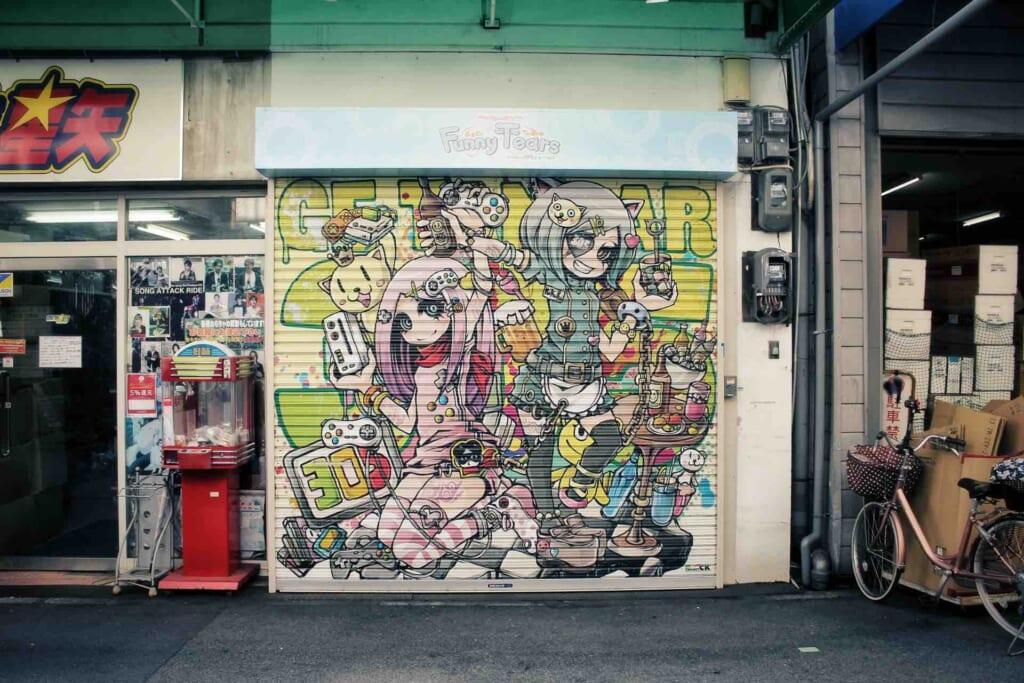Graffiti on a shopfront in Osaka