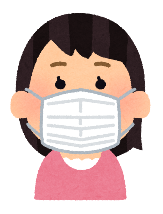 An illustration of a Japanese girl wearing a mask.