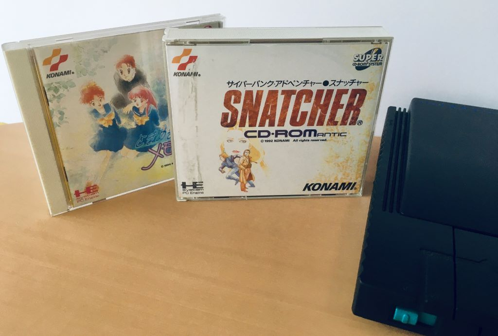 Classic titles for the PC Engine (TurboGrafx-16) (left to right): Tokimeki Memorial, Snatcher