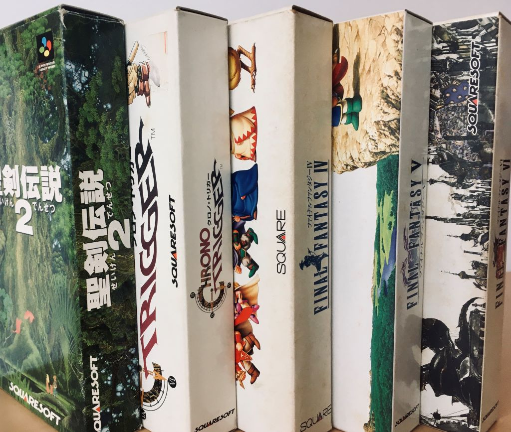 Classic Squaresoft titles for the Super Famicom, from left to right: Seiken Densetsu 2 (Secret of Mana), Chrono Trigger, Final Fantasy IV (Final Fantasy II), Final Fantasy V, and Final Fantasy VI (Final Fantasy III)
