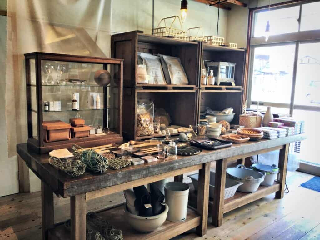 Inside a crafts shop in Beppu