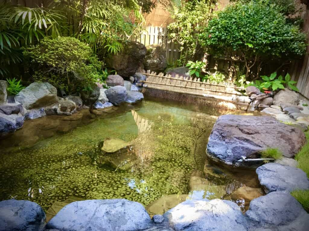 Open-air onsen bath in a ryokan