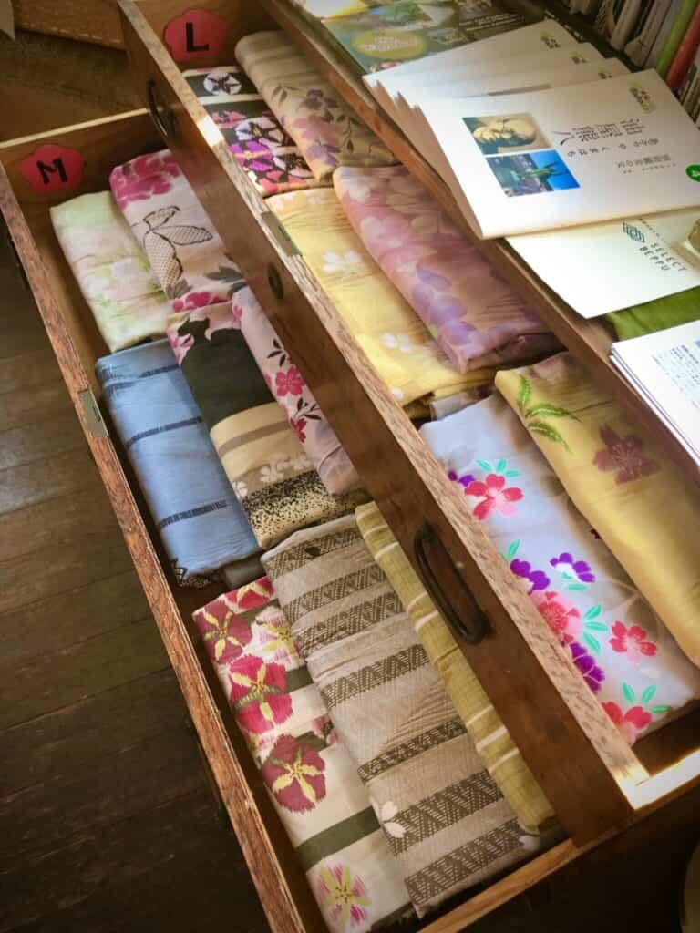 Colorful yukata in a drawer
