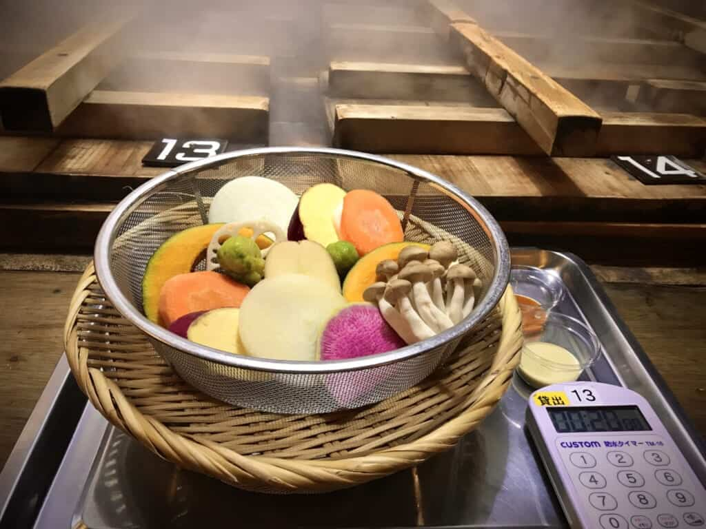 Food steamed in and onsen