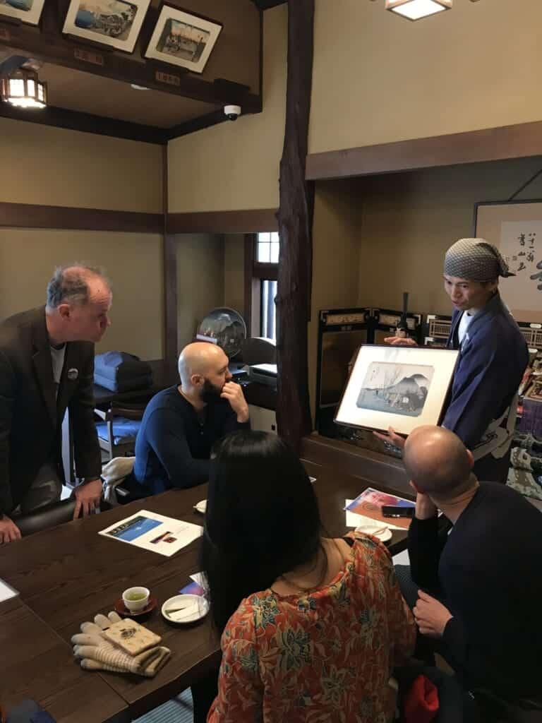 Shibayama with Hiroshige ukiyo-e print