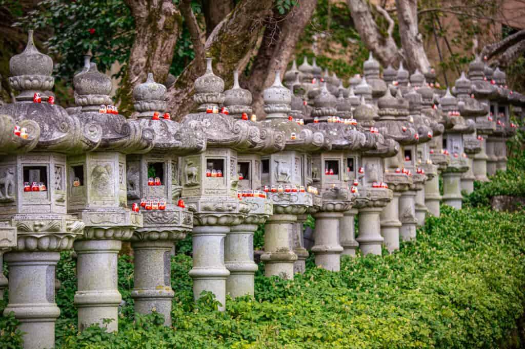 small daruma in stone lanterns