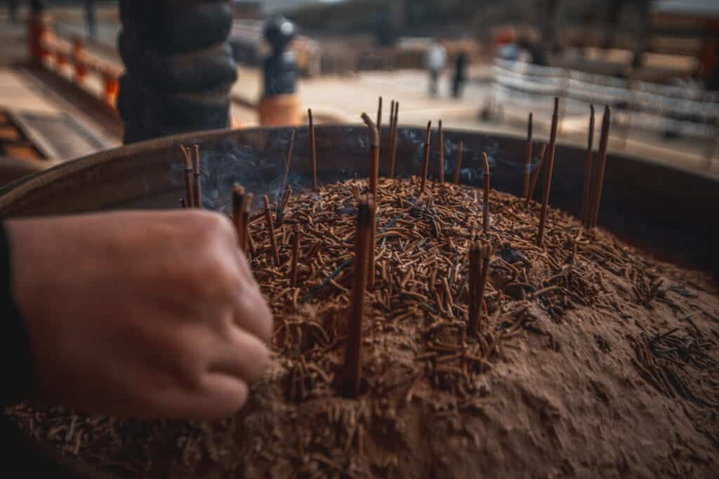 incense sticks in Katsuo ji temple