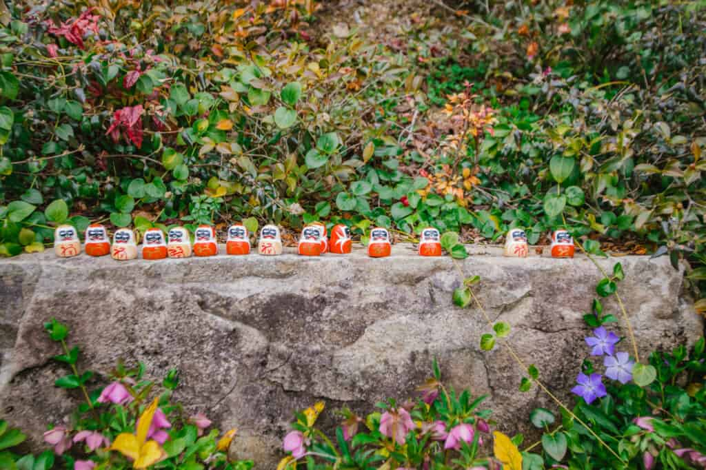 sixteen daruma among flowers and nature