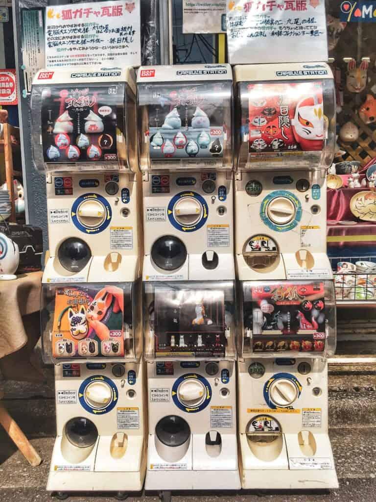 Fox themed gashapon at Yamawa shop