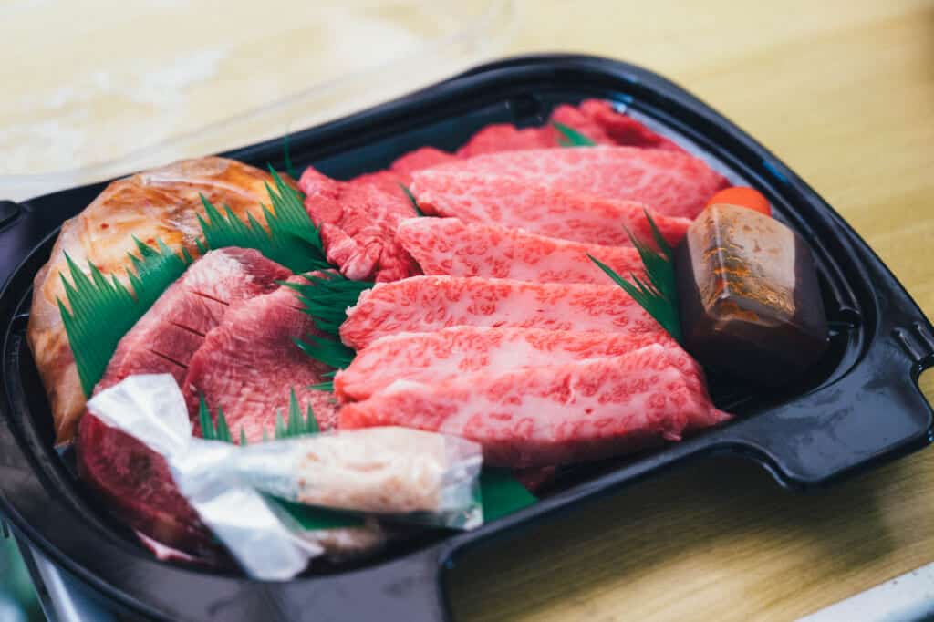 Some fresh meat ready to be grilled with the yakiniku style