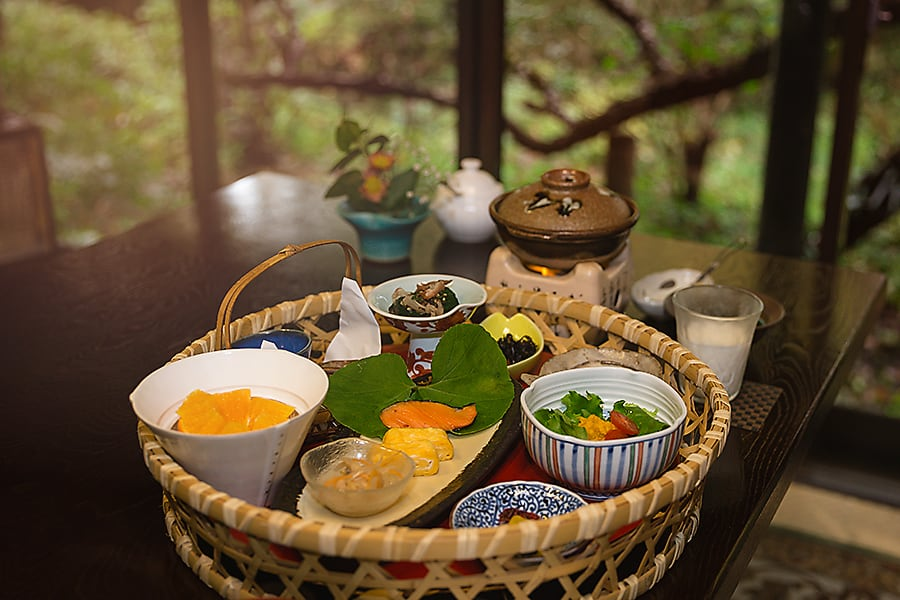 Sennomori Japanese breakfast featuring local kumamoto ingredients