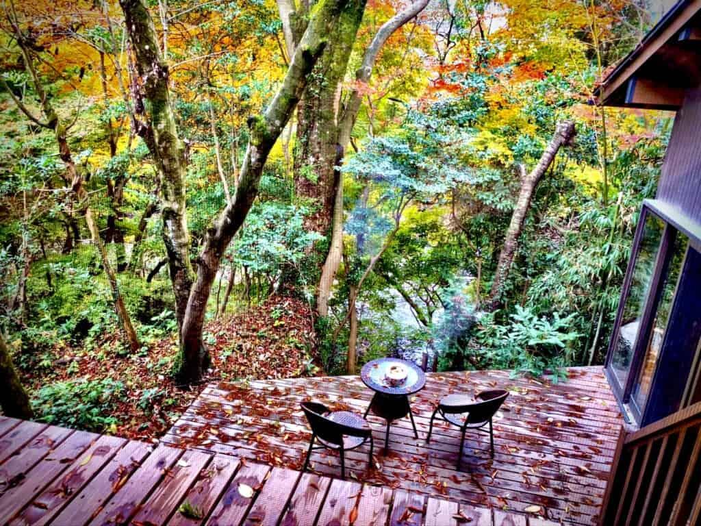 Sennomori Fukuro terrace with autumn foliage