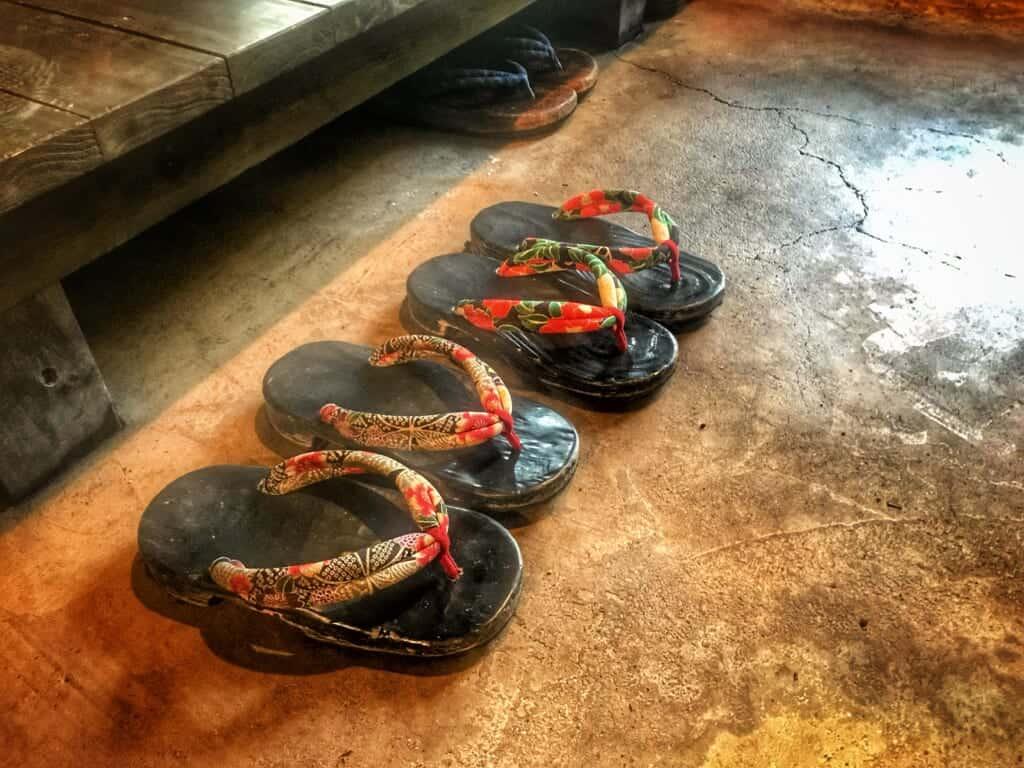 Sennomori genkan sandals in traditional ryokan