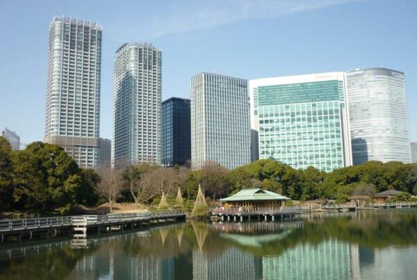 Hamarikyu garden in Tokyo, Japan.