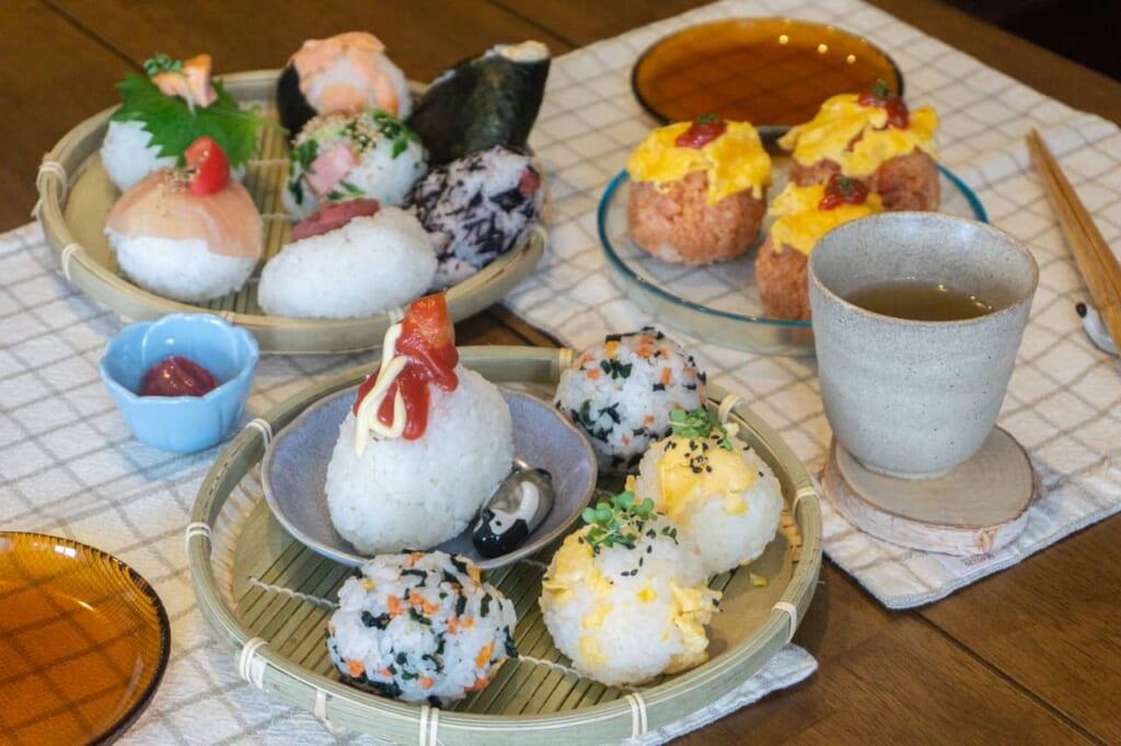 Many different types of handmade onigiris