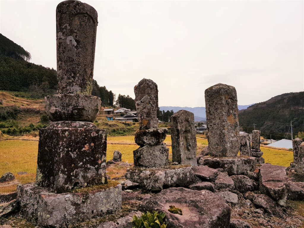 Japanese cemeteries in the countryside.
