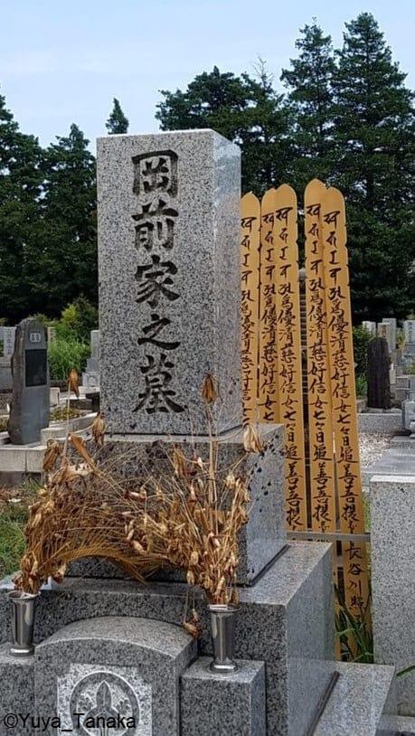 Itatoba behind a tombstone.