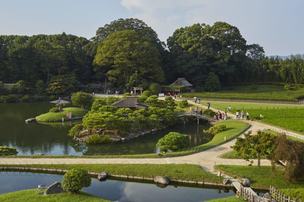 Japanese gardens view from above at Koraku-en