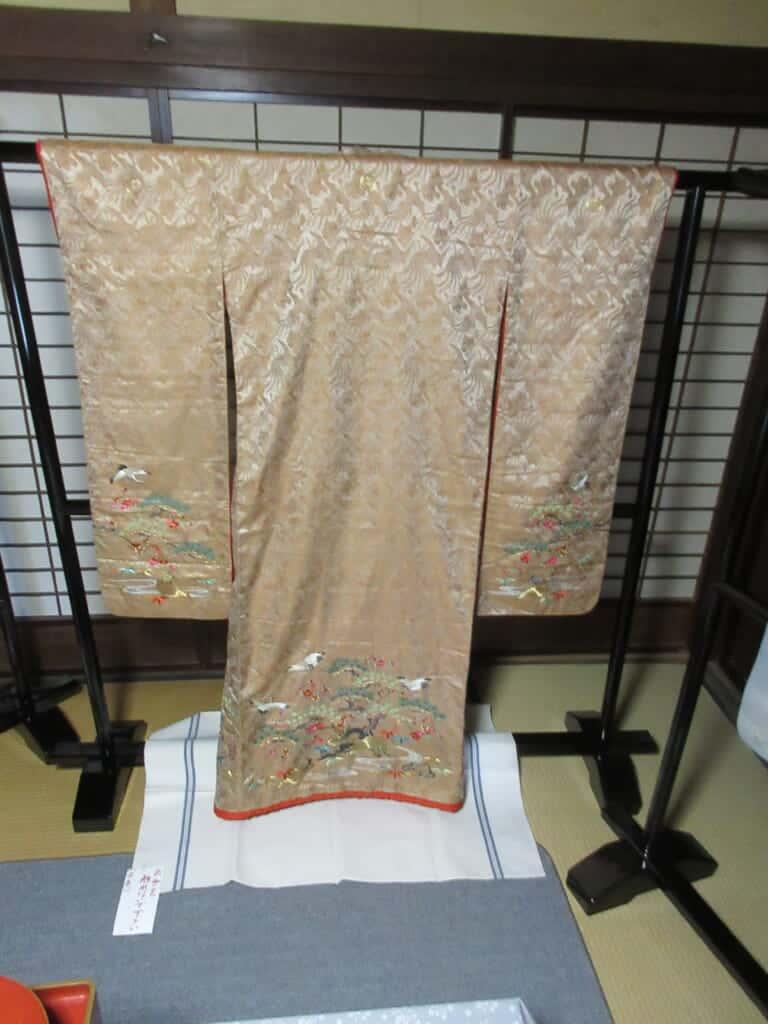 The wedding uchikake of Shida-san's grandmother in Shida-tei house