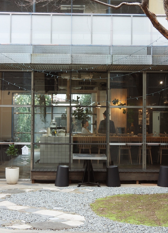 Japanese cafe and patio in Onomichi