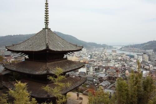 View of Senko-Ji Temple and cityscape of Onomichibelow