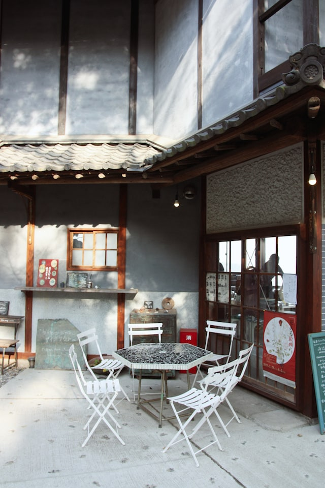 patio of cafe on Onomichi
