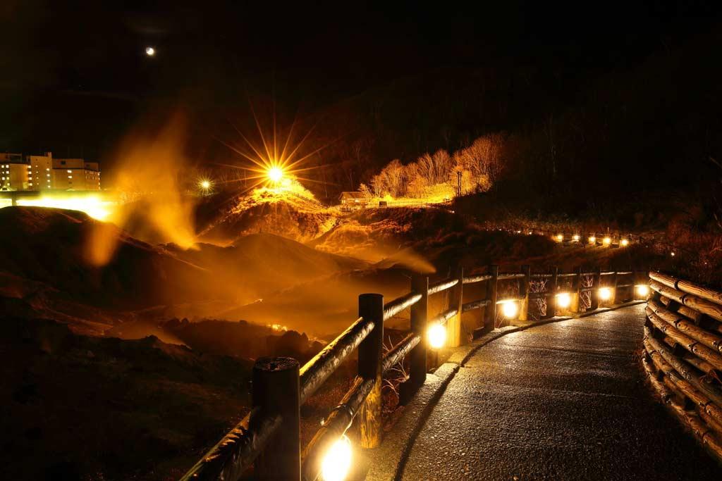 Boardwalk at night in noboribetsu onsen