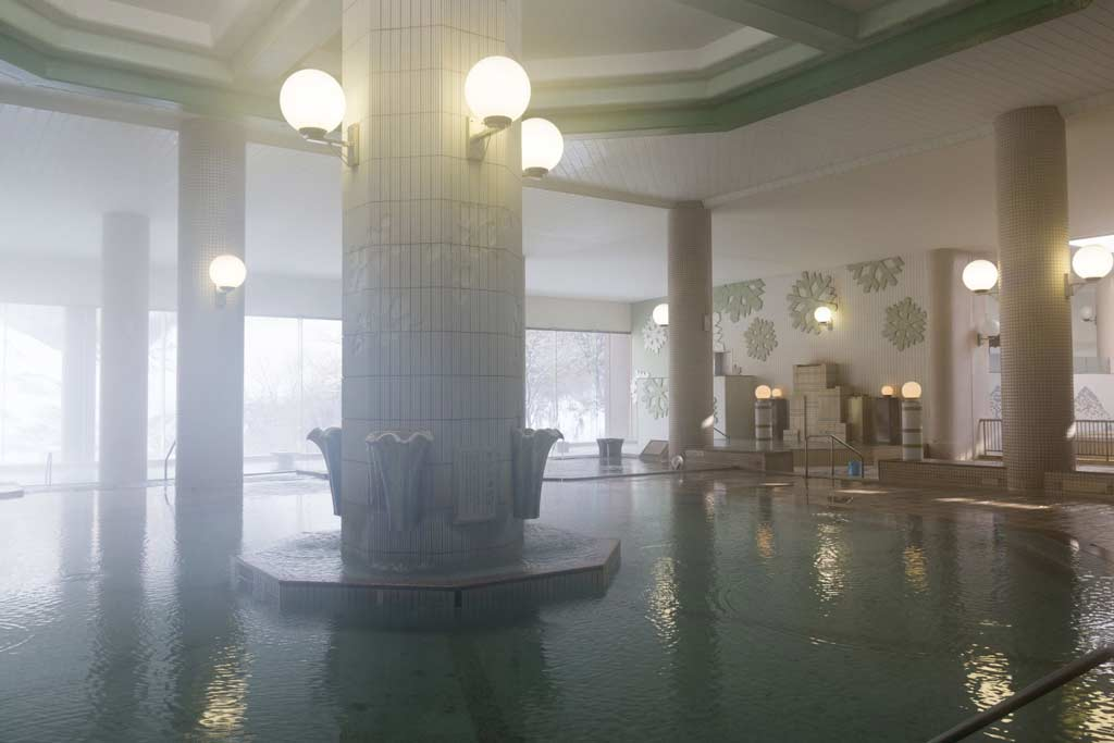 One of the several hot springs at Dai Ichi Takimotokan in Noboribetsu Onsen