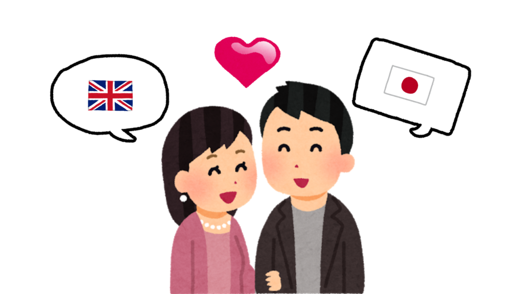 illustration of two people speaking different languages