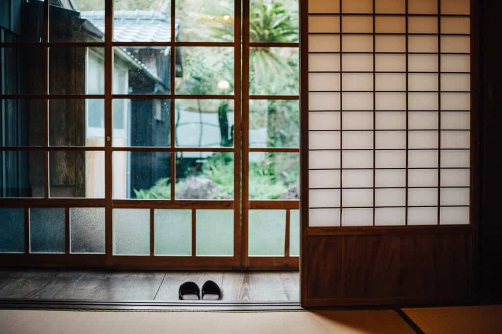 Glass doors of Ojika Island Guesthouse, Yanoya kominka (old-style Japanese house)
