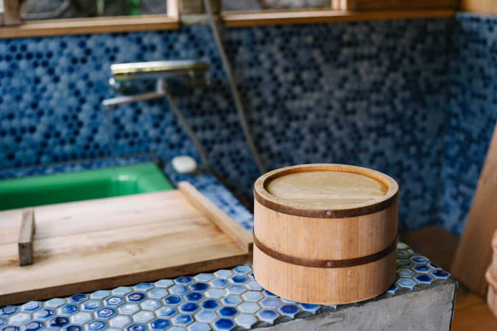 Wooden bucket used for washing in a Japanese bath at Yanoya guesthouse on Ojika Island