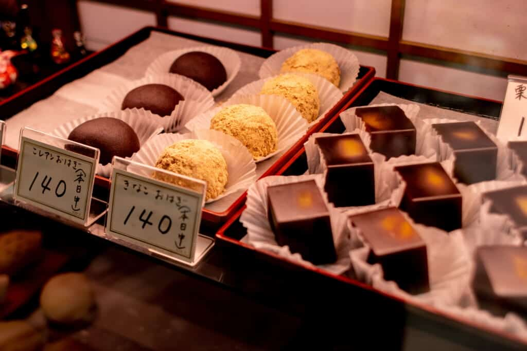 Different types of cakes in a Japanese bakery