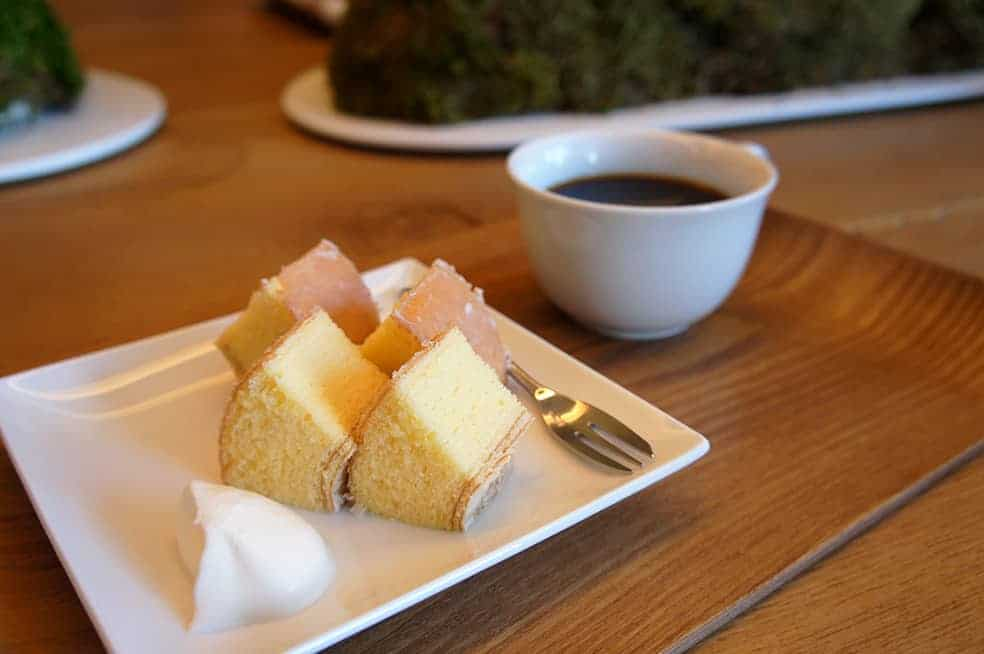 a delicious japanese cake with a cup of tea
