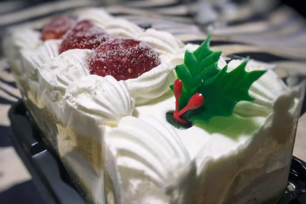 A Christmas cake is like the typical japanese cake of shortcake but with Christmas decoration