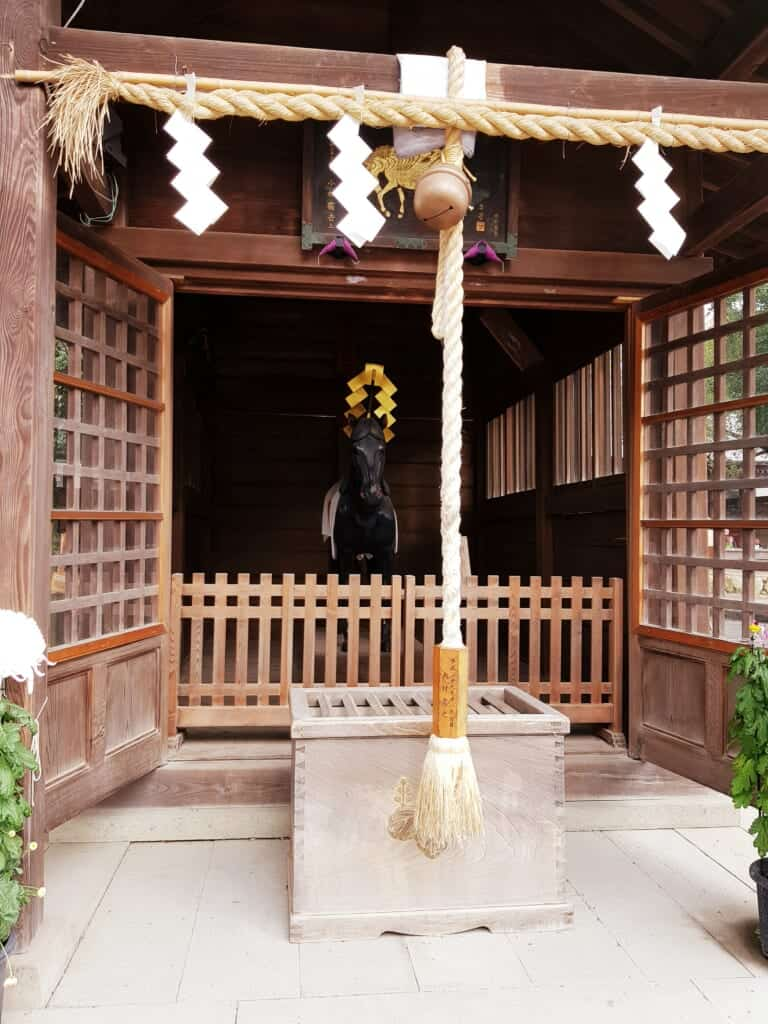 Horse statue at a shrine in Japan.