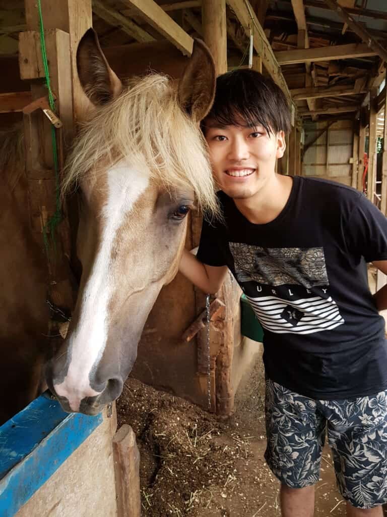 Becoming friends with horses in Japan.