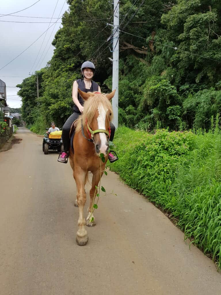 Horse riding on the streets in Miura Kaigan.