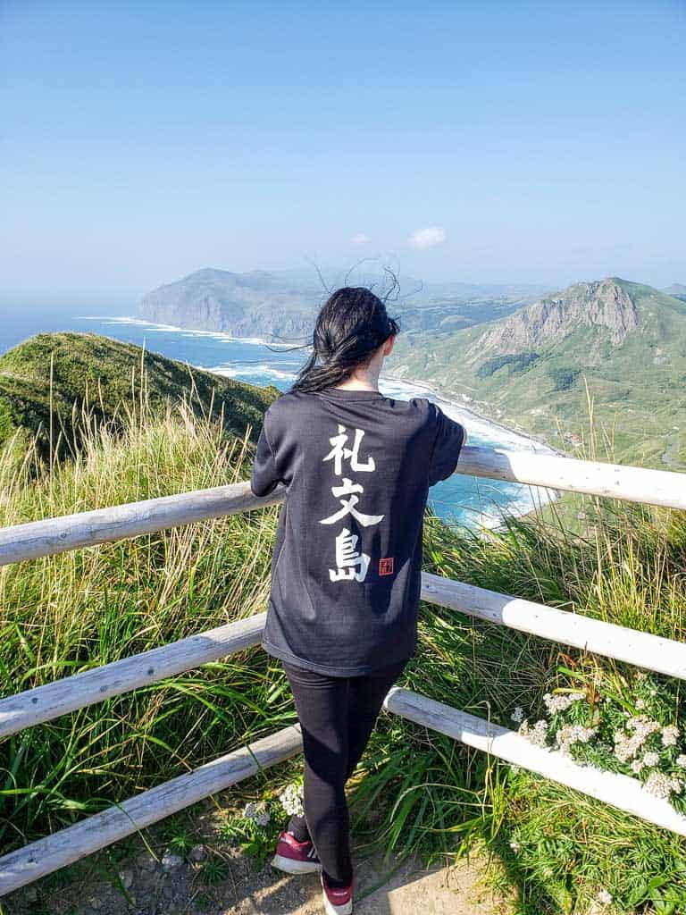 Looking over Ocean Views of Momoiwa Observatory Hiking Course on Rebun Island in Hokkaido