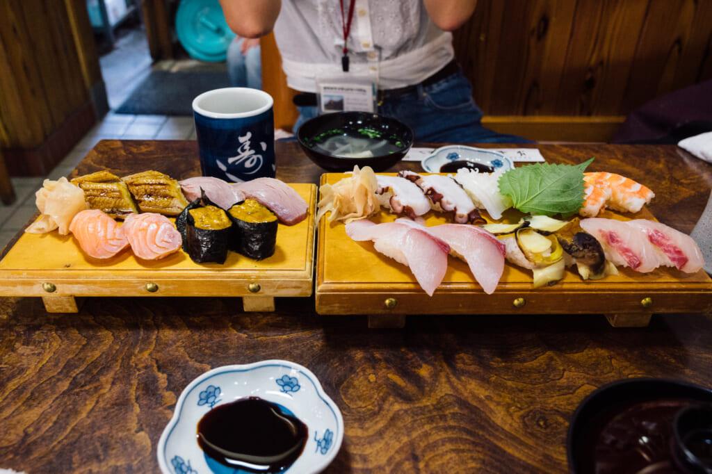 Plates of sushi at Sushi Heiroku on Ojika Island
